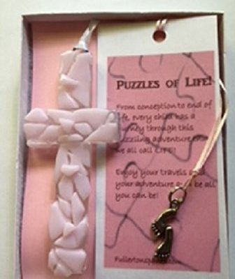 Baby Pink Mosaic cross and bookmark