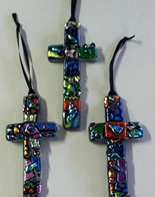 Beautiful hand crafted Dichroic Glass Cross, made in the Great State of Texas!